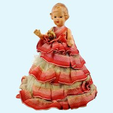 Pincushion doll, German vintage 1950's with silk tulle skirt, old haberdashery