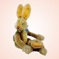 """Steiff rabbit Lulac with button, vintage 1952 to 64, 17"""", dangling limbs, jointed"""