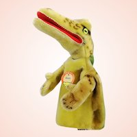 Steiff crocodile alligator hand puppet, all ID's complete, made 1965 to 67, named Gaty