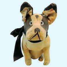 French Bulldog toy, 1930s made of linen, Art Deco dog fashion craze