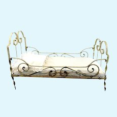 """Large antique doll cot white metal, 24 by 11"""", 1910's made, with mattress"""