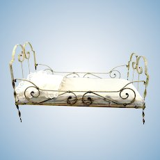 "Large antique doll cot white metal, 24 by 11"", 1910's made, with mattress"