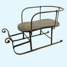 """Iron doll sled sleigh with wooden seat, 14"""" long, winter decoration"""