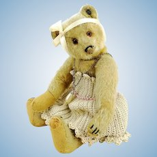 """Antique Steiff teddy bear, ff button, 9"""", well-loved, period dressed"""