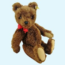 "Steiff Teddy Bear with IDs, excellent brown OTB, 16"", squeaker, 1959 to 1964"