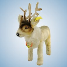 "Steiff reindeer, all IDs, vintage 1956 to 58 first edition, 7"" tall"
