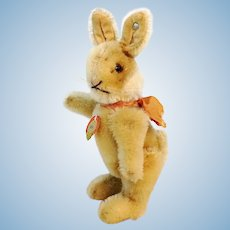 "Steiff rabbit Niki with IDs, jointed, smallest 5"", vintage 1952 to 64"