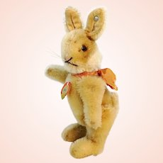 """Steiff rabbit Niki with IDs, jointed, smallest 5"""", vintage 1952 to 64"""