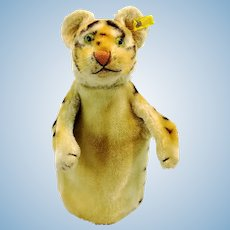 Steiff Tiger hand puppet with IDs, vintage made 1952 to 1963