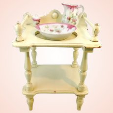 Large antique doll washstand vanity with porcelain basin and pitcher