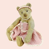 "White Steiff teddy bear, blank button, 9"", 1949 only, identical to prewar model"