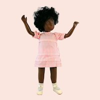 Sasha doll 'Black girl Cora', 1970s made in England by Trendon Ltd., original dress