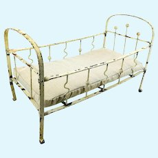 Antique doll cot white metal, 13 by 7 inches, 1910s German made with mattress
