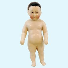 """Frozen Charlie antique china doll, 1800's made, 7"""" white naked porcelain boy"""
