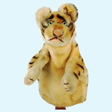 Steiff Tiger hand puppet with IDs, vintage made 1965 to 78