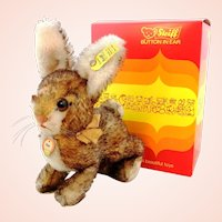 """Steiff rabbit Ossi, mint in box, vintage made 1962 to 1964, 7"""""""