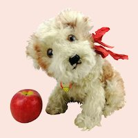 """Steiff puppy dog Molly with chest tag, 9"""" sitting, vintage 1949 to 1954 only"""