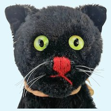 Steiff black Tom Cat hand puppet, original bow, vintage 1952 to 1964