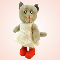 """German vintage Kersa cat toy with ID, early 1950s, 7"""" Puss in Boots, original dress"""