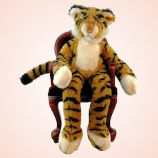 """Steiff dangling tiger Lulac with IDs, vintage 1982 to 85 only, 22"""""""