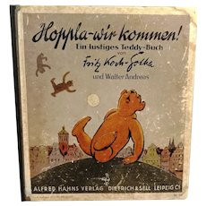 1930s German vintage children's teddy bear book with beautiful illustrations