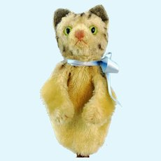 Steiff cat hand puppet, vintage tabby made 1968 to 78, no IDs