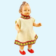 """German celluloid doll, vintage 1950's by Milon Gehler, 8"""" chubby girl with quiff"""