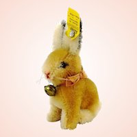 """Steiff bunny rabbit Sonny with IDs, 3"""", original bow, vintage 1965 to 67"""