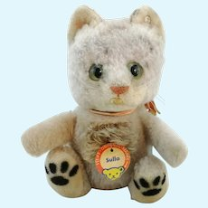 """Steiff ball cat Sulla with IDs, vintage produced 1960 to 61 only, 6"""""""