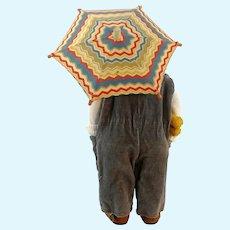 "Doll umbrella parasol 1950s vintage, 9"" diameter, fully functional"