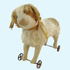 "Antique Steiff St Bernhard dog on metal wheels, 11"", made 1905 to 1927"
