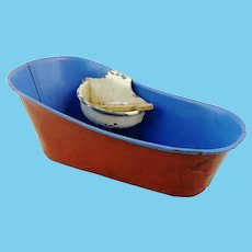 """Antique 1920s tin bathtub with soap dish and mini thermometer, 7"""""""