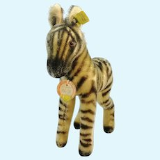 """Steiff Zebra with all IDs 9"""" vintage 1966 to 67 produced"""