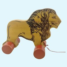 Steiff wooden lion pull toy with ID ,vintage 1969 to 74 only, 8""