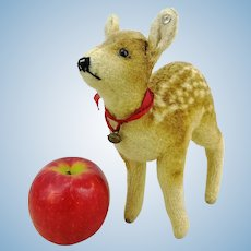 "Steiff fawn deer with button, 1949 to 1953 only, 7"" wool plush"