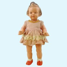 "1950s German celluloid doll by Milon Gehler, 8"", original dress"