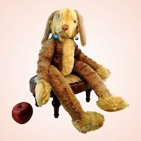"""Steiff Floppy Rabbit Lulac with button, largest 24"""", vintage 1964 to 66 only"""