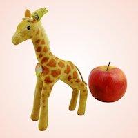 """Steiff Giraffe with all IDs, 1960s vintage, small 6"""", made of velvet"""