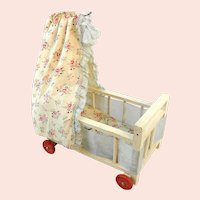 "Wooden doll crib with canopy on wheels original bedding 6"" 1950's vintage"