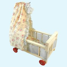"""Wooden doll crib with canopy on wheels original bedding 6"""" 1950's vintage"""