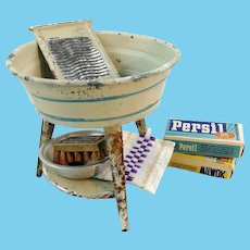"""Antique tin washbasin for dolls with washboard and utensils 4"""" tall"""