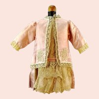 "Antique 1920's doll dress pink silk and lace partly hand sewn 13"" long"