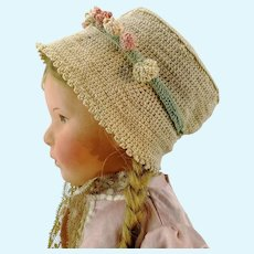 """Crochet hat flower bonnet for large Kathe Kruse or any doll with 13"""" circumference"""