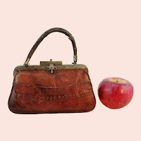 "Antique Leather Travelling Bag for large doll 7"" long"