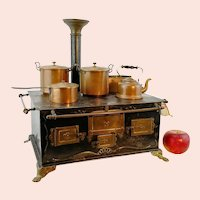 "Antique doll stove made by Bing in Germany around 1900 large 15"" wide"