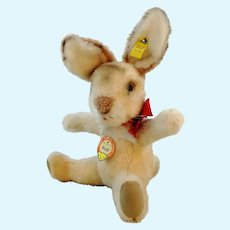 "Steiff sitting rabbit all IDs, 10"", 1969 to 1974 produced only"