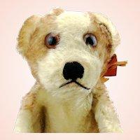 Steiff Hand Puppet puppy dog Molly, 1950s vintage, original bow