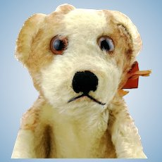Steiff Hand Puppet puppy dog Molly, 1950s vintage, original bow