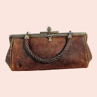 Antique Leather Handbag for large doll 9 inches long