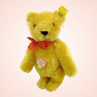 """Steiff teddy bear with all IDs, small 6"""", yellow mohair, 1950s vintage"""